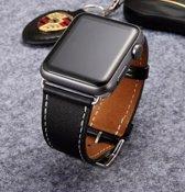 PU Lederen Band Voor Apple Watch Series 1/2/3/4 42 MM /44 MM - iWatch Armband Polsband Strap - Zwart