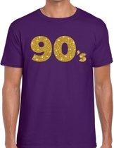 90's goud glitter tekst t-shirt paars heren - Jaren 90 kleding L