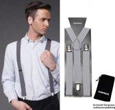Bretels - Grijs - Sorprese - met stevige clip - luxe - heren bretels - unisex