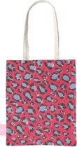 BEACHLANE - Katoenen tasje - Canvas Tote Bag Shopper - Luipaard / Leopard print Rood - Schoudertas / Boodschappen tas