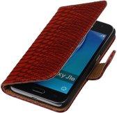 Rood Slang booktype cover hoesje voor Samsung Galaxy J1 Nxt