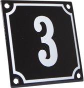 Emaille huisnummer zwart/wit nr. 3 10x10cm