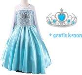 Elsa Prinsessenjurk - Verkleedkleding - Blauw - Maat 116/122 (labelmaat 130)