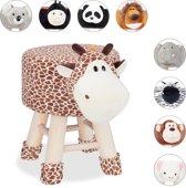 relaxdays Kinderkruk - kinderpoef - decoratie - hocker met pootjes  - dieren design Giraf