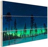 FotoCadeau.nl - Noorderlicht achter bomen  Hout 120x80 cm - Foto print op Hout (Wanddecoratie)