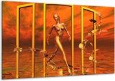 Canvas schilderij Abstract | Geel, Goud | 120x70cm 1Luik
