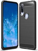 Motorola One Action Geborsteld TPU Hoesje Zwart