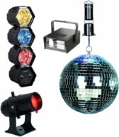 Bigben PFPARTYSET Compleet Disco Party pakket met Discobal, LED Lichten, Laser, FLash Knipperlicht