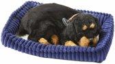 Pluche slapende Rottweiler honden knuffel - knuffeldier