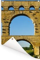 De 3 lagen van de Pont du Gard van dichtbij Tuinposter 120x180 cm - Tuindoek / Buitencanvas / Schilderijen voor buiten (tuin decoratie) XXL / Groot formaat!