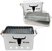MikaMax - Grill King Houtskool BBQ - RVS - Inclusief Verwijderbare aslade & Inklapbare handvaten