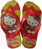 Gele-rode teenslippers van Hello Kitty maat 31/32