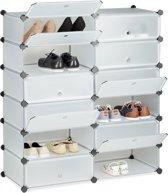 relaxdays schoenenrek 12 vakken - schoenenkast XXL - groot rek - kunststof - kliksysteem doorzichtig