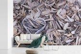 Fotobehang vinyl - Zonnebloempitten met een hartvormige blik tussen de pitten breedte 330 cm x hoogte 220 cm - Foto print op behang (in 7 formaten beschikbaar)