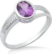 Majestine 9 Karaat Ring Witgoudkleurig (375) met Diamant 0.05ct en Amethist 1.11ct maat 58