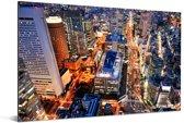 Nacht in de stad Osaka in Japan Aluminium 60x40 cm - Foto print op Aluminium (metaal wanddecoratie)