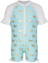 Snapper Rock UV werend Zwempakje Baby korte mouwen Goud Paardje - Blauw - Maat 74-80