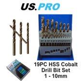 Borenset HSS kobalt 1-10 mm 19-delig