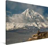 Het uitzicht op de Ararat berg in Turkije Canvas 60x40 cm - Foto print op Canvas schilderij (Wanddecoratie woonkamer / slaapkamer)