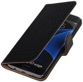 Samsung Galaxy S7 Edge Hoesje Krokodil Bookstyle Zwart