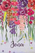 Jena: Personalized Lined Journal - Colorful Floral Waterfall (Customized Name Gifts)