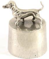 Hok Asbeeld/urn zilvertin teckel gladharig 8 cm
