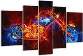 Glasschilderij Motor | Rood, Blauw, Rood | 170x100cm 5Luik | Foto print op Glas |  F004590