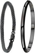 Lucardi - Zilveren set blackplated met twee armbanden - Dames - Zilver