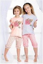 Kinderpyjama Taro Tola 1101 grijs met opdruk en roze broek - 104