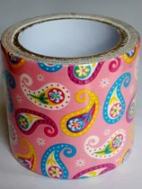 masking tape Roze met Bloemen - decoratie washi papier tape - 48 mm x 4 m