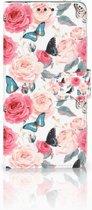 Huawei Mate 20 Uniek Boekhoesje Butterfly Roses
