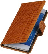Wicked Narwal | Snake bookstyle / book case/ wallet case Hoes voor sony Xperia Z4 Z3+ Bruin