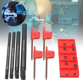 4 stks 7/8/10 / 12mm SCLCR06 Draaibank Kotterbaar Draaigereedschap Met 10 stks CCMT0602 Inserts