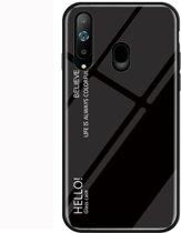 Let op type!! Gradiënt kleur glas beschermhoes voor Galaxy A8s (zwart)