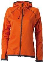 Oranje dames fleece jasje met capuchon S