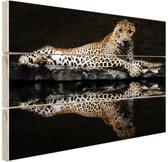Luipaard bij het water Hout 80x60 cm - Foto print op Hout (Wanddecoratie)