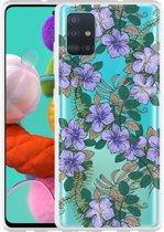 Samsung Galaxy A51 Hoesje Purple Flowers