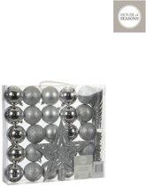 Kerstballen Decoratie zilver, 33 stuks
