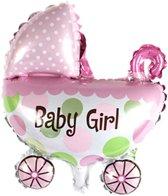 Ballon | Kinderwagen | Roze | Baby Girl | Geboorte ballon | 20x30cm