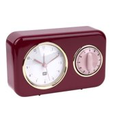 Clock with kitchen timer Nostalgia burgundy red
