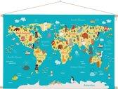Wereldkaart voor kinderen op schoolplaat 60x40 cm platte latten - Textielposter