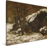 The Deer - Schilderij van Gustave Courbet Canvas 40x30 cm - klein - Foto print op Canvas schilderij (Wanddecoratie woonkamer / slaapkamer)