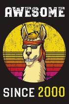 Awesome Since 2000: Llama Retro Sunshine Lined Journal and Vintage Happy Birthday Gift Notebook