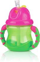 Antilek rietjesbeker met handvatten - Roze en Groen 240ml