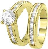 Eve Gold Plated 2 Delige Ring - Met Zirkonia - Maat 50