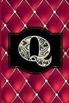 Q: Monogram Journal or Diary. Captivating Ruby Red and Gold Diamond Design with a Decorative Uppercase Initial with Textu