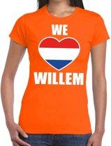 Oranje We love Willem t-shirt dames XS