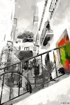 Straatje met trap in zwart wit in Spanje, Andalusië, Malaga, Frigiliana | abstract, modern, stad | Foto schilderij print op Dibond / Aluminium (metaal wanddecoratie) | 150x100cm