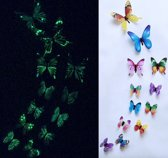 3-D vlinderstickers / glow in the dark Multi color