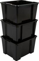 IRIS Handy Box opbergbox zonder deksel - 30 l - Zwart - 3 stuks